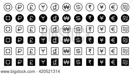 A Set Of Buttons With Signs Of Monetary Units Of Different Countries For Mobile Applications, Web Si