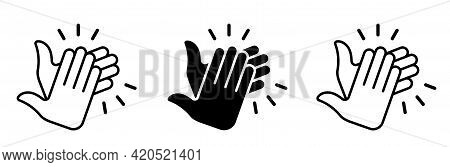 Applause Flat Icon Set. Human Clapping Hands With Clap Sound. Vector Elements