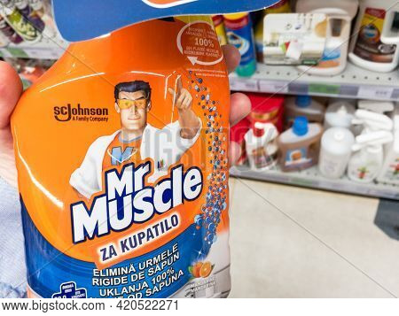 Belgrade, Serbia - May 3, 2021: Mr Muscle Logo On A Desinfectant Spray Bottle. Mr Muscle Is A Britis