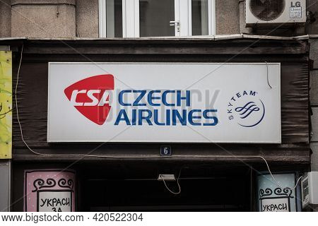 Belgrade, Serbia - April 3, 2021: Csa Czech Airlines Logo In Front Of Their Main Office For Belgrade