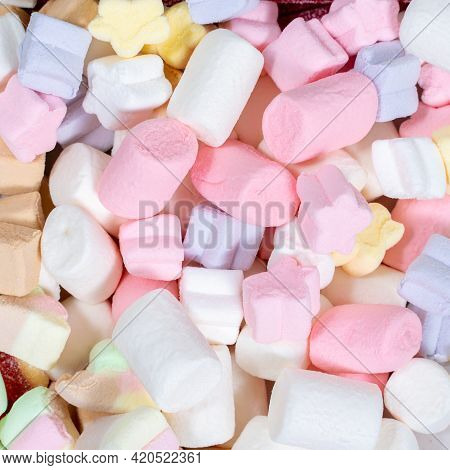 Colorful Marshmallows Candy For Background Uses. Sugary, Gummy,