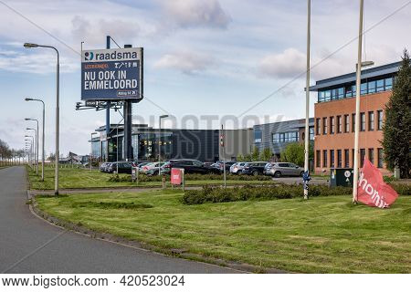 Emmeloord, The Netherlands - May 5, 2021: Industrial Park With Business Establishments And Big Adver