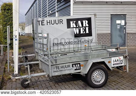 Emmeloord, The Netherlands - May 5, 2021: Trailers For Rent At A Dutch Do It Yourself Warehouse