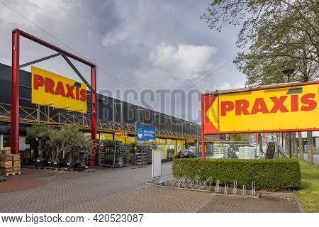 Emmeloord, The Netherlands - May 5, 2021: Facade Praxis Do It Yourself Shopping Mall In Dutch Villag