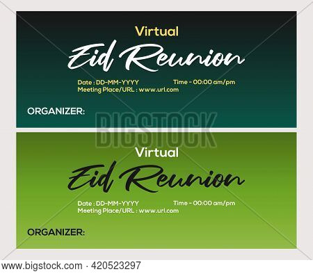 Virtual Eid Reunion Banner Vector Background Design. Stay At Home Using Teleconference Due To Covid-