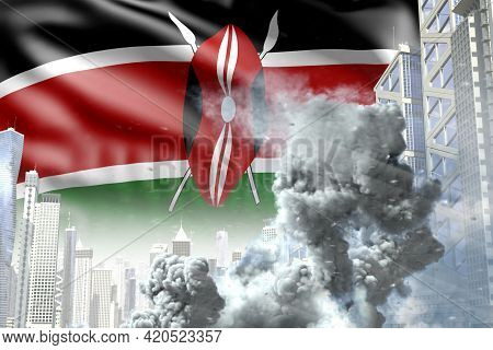 Large Smoke Pillar In Abstract City - Concept Of Industrial Catastrophe Or Act Of Terror On Kenya Fl