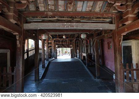 Hoi An, Vietnam, May 15, 2021: Wooden Interior Passageway Of The Japanese Bridge In Hoi An, Vietnam.