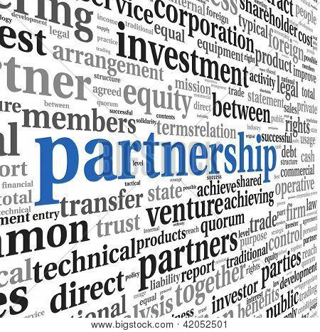 Conceito de parceria e negócios na nuvem de Tags em branco