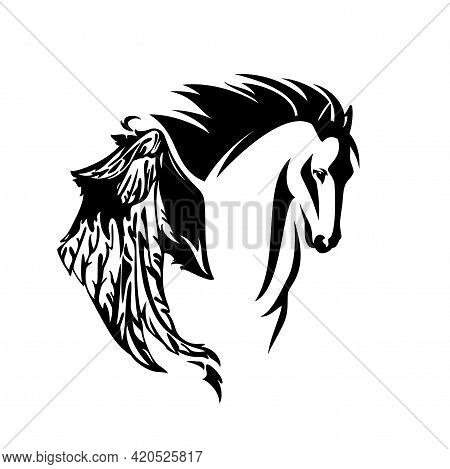 Pegasus Winged Horse Head Portrait - Mythical Animal Flying Forward Black And White Vector Design