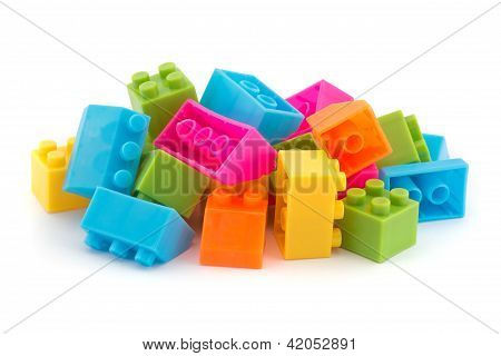 Small Pile Of Colorful Childrens Building Bricks
