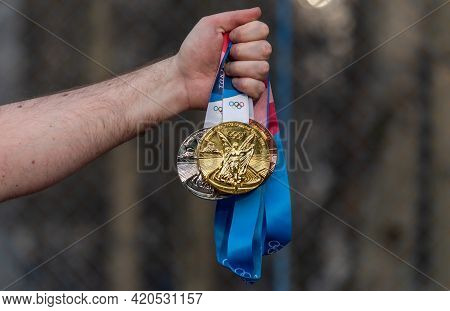 April 17, 2021 Tokyo, Japan. Gold, Silver And Bronze Medals Of The Xxxii Summer Olympic Games In Tok