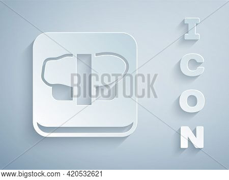 Paper Cut Sushi On Cutting Board Icon Isolated On Grey Background. Asian Food Sushi On Wooden Board.