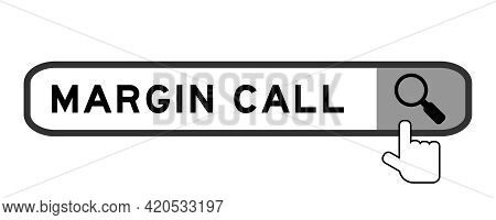 Search Banner In Word Margin Call With Hand Over Magnifier Icon On White Background