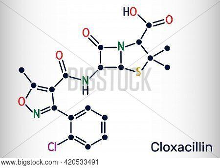Cloxacillin Molecule. It Is Antibacterial Drug, Semi-synthetic Beta-lactamase Resistant Penicillin A