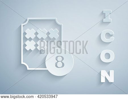 Paper Cut Bingo Or Lottery Ball On Bingo Card With Lucky Numbers Icon Isolated On Grey Background. P