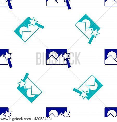 Blue Photo Retouching Icon Isolated Seamless Pattern On White Background. Photographer, Photography,