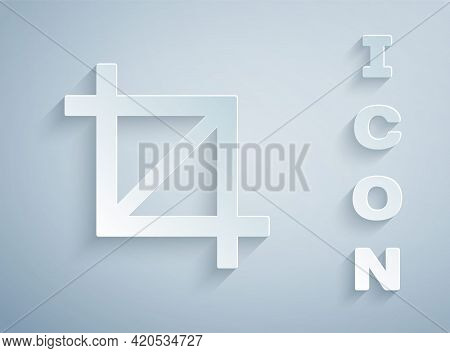 Paper Cut Picture Crop Photo Icon Isolated On Grey Background. Paper Art Style. Vector