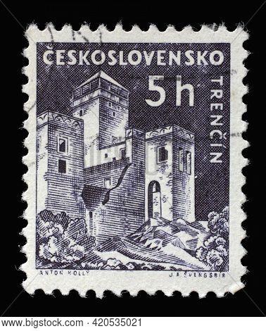 ZAGREB, CROATIA - SEPTEMBER 18, 2014: Stamp printed in Czechoslovakia shows Trencin castle, series castle, circa 1960