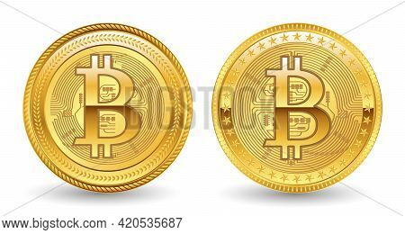 Set Of Crypto Currency Golden Or Digital Currency Bitcoin Illustration Or Digital Payment Currency