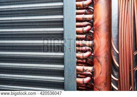 Air Handling Unit Heat Exchanger Condenser Evaporator Heating Cooling Close-up