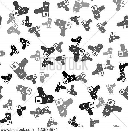 Black Digital Contactless Thermometer With Infrared Light Icon Isolated Seamless Pattern On White Ba