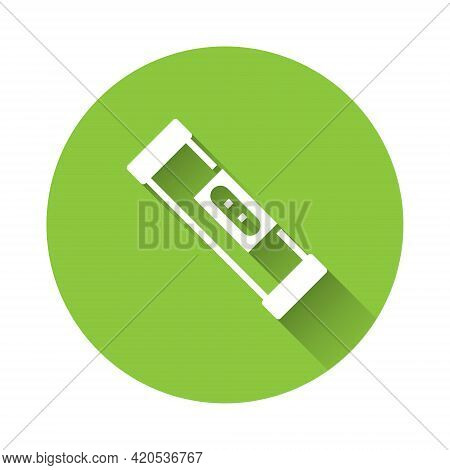 White Construction Bubble Level Icon Isolated With Long Shadow. Waterpas, Measuring Instrument, Meas