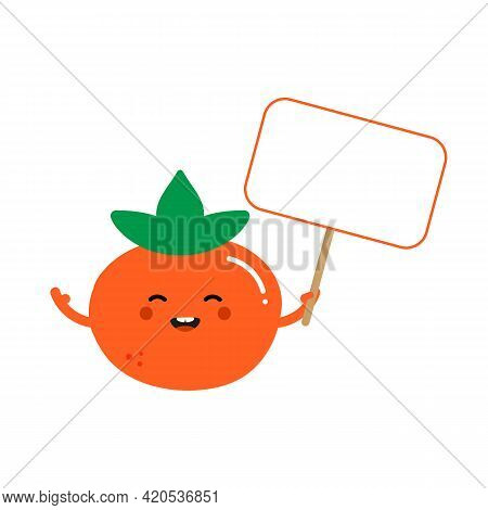 Cute Smiling Cartoon Style Orange Persimmon Character Holding In Hands Blank Sign, Banner.