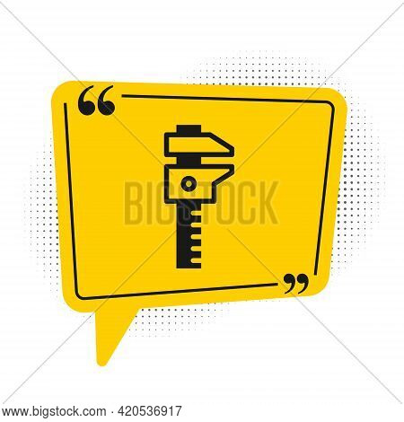 Black Calliper Or Caliper And Scale Icon Isolated On White Background. Precision Measuring Tools. Ye