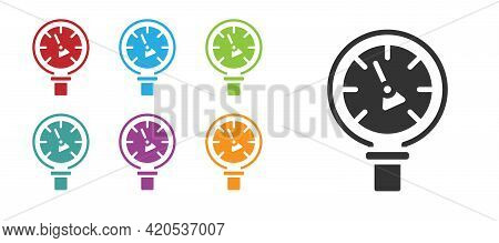 Black Pressure Water Meter Icon Isolated On White Background. Set Icons Colorful. Vector