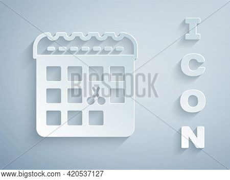 Paper Cut Calendar With Haircut Day Icon Isolated On Grey Background. Haircut Appointment Concept. P