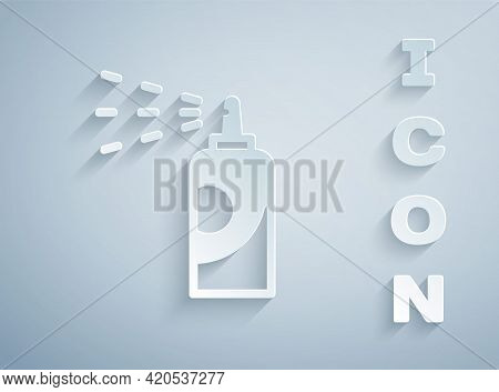 Paper Cut Spray Can For Hairspray, Deodorant, Antiperspirant Icon Isolated On Grey Background. Paper