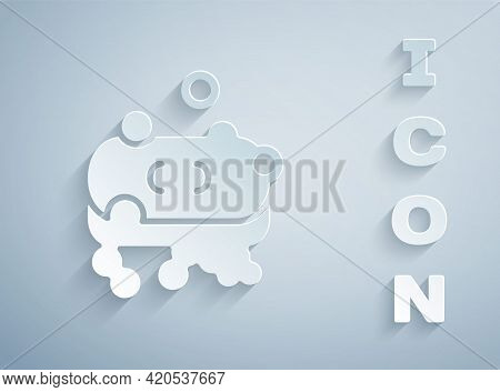 Paper Cut Bar Of Soap With Foam Icon Isolated On Grey Background. Soap Bar With Bubbles. Paper Art S