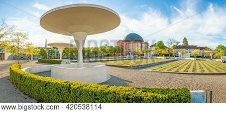 Panoramic View Of Georg Buechner Square And Hessian State Theater In German University City Darmstad