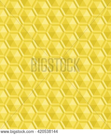 Seamless Abstract Yellow Background Pattern. Triangle Are Arranged To Form 3d Hexagon. Texture Desig