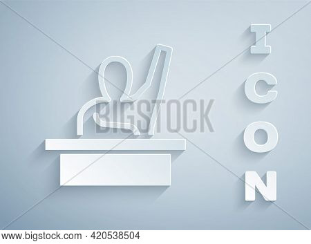 Paper Cut Active Male Kid Raising Hand Answering To Teacher Question Icon Isolated On Grey Backgroun