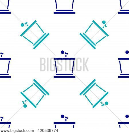 Blue Stage Stand Or Debate Podium Rostrum Icon Isolated Seamless Pattern On White Background. Confer