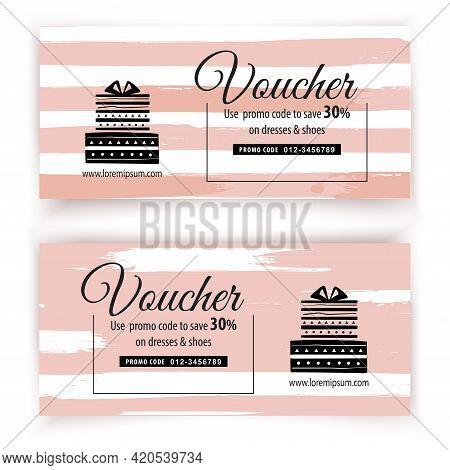 Voucher And Stripe Blots. Pink Hand Made Blots Vector Illustration