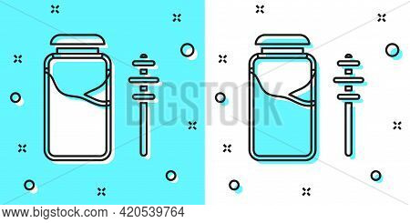 Black Line Jar Of Honey And Honey Dipper Stick Icon Isolated On Green And White Background. Food Ban