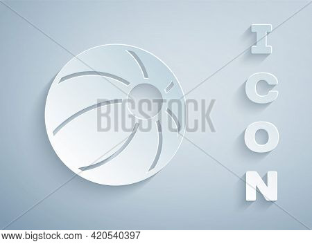 Paper Cut Beach Ball Icon Isolated On Grey Background. Children Toy. Paper Art Style. Vector