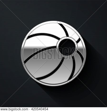 Silver Beach Ball Icon Isolated On Black Background. Children Toy. Long Shadow Style. Vector