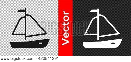 Black Yacht Sailboat Or Sailing Ship Icon Isolated On Transparent Background. Sail Boat Marine Cruis