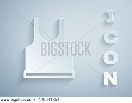 Paper Cut Sleeveless T-shirt Icon Isolated On Grey Background. Paper Art Style. Vector