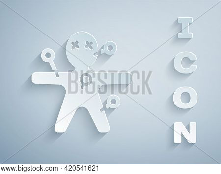 Paper Cut Voodoo Doll Icon Isolated On Grey Background. Happy Halloween Party. Paper Art Style. Vect