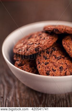 Chocolate Chip Cookies On A Bowl. High Quality Photo.