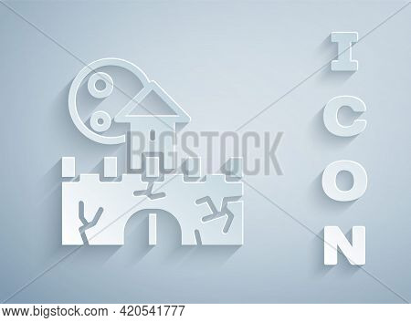 Paper Cut Castle Icon Isolated On Grey Background. Medieval Fortress With A Tower. Protection From E