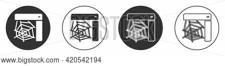 Black Spider Web Icon Isolated On White Background. Cobweb Sign. Happy Halloween Party. Circle Butto