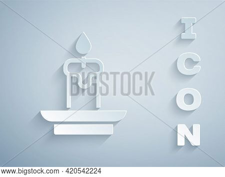 Paper Cut Burning Candle Icon Isolated On Grey Background. Cylindrical Aromatic Candle Stick With Bu
