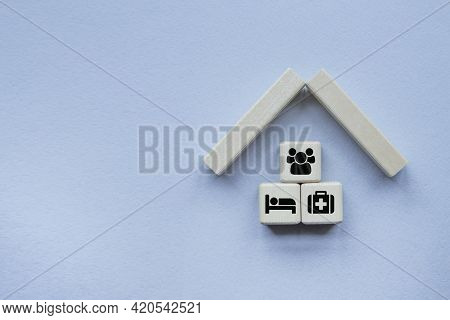 Property Insurance Concept. Small Toy House .concepts For Health Care And Medical , Life, Transport,