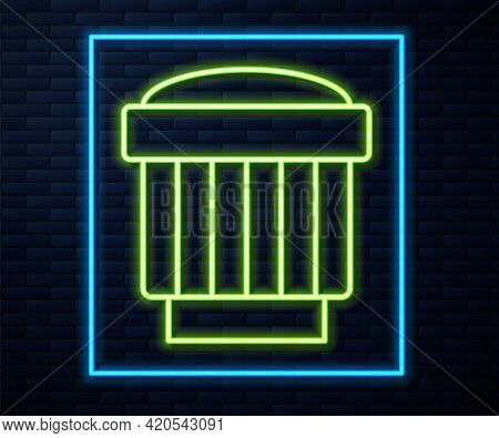 Glowing Neon Line Camera Photo Lens Icon Isolated On Brick Wall Background. Vector
