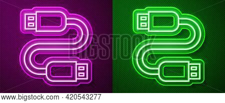 Glowing Neon Line Usb Cable Cord Icon Isolated On Purple And Green Background. Connectors And Socket